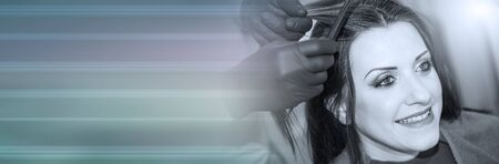 Hairdresser coloring client hair, black and white. panoramic banner
