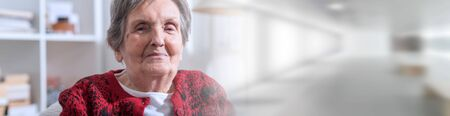 Portrait of a smiling senior woman; panoramic banner Stockfoto