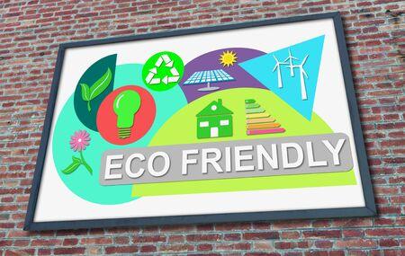 Eco friendly concept drawn on a billboard fixed on a brick wall
