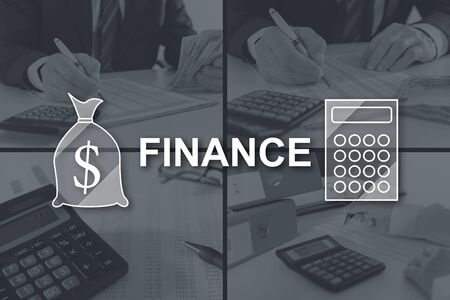 Finance concept illustrated by pictures on background Stock fotó