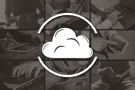 Cloud concept illustrated by pictures on background