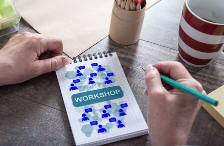 Workshop concept drawn on a notepad Stock Photo