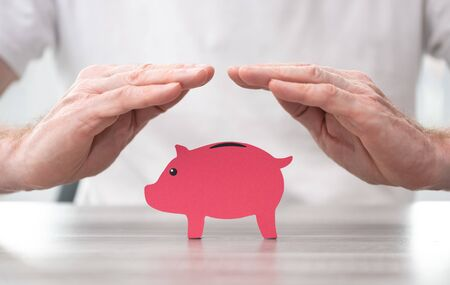 Piggy bank protected by hands - Concept of money protection