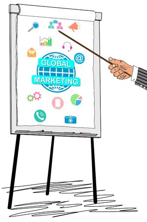 Hand showing global marketing concept on a flipchart
