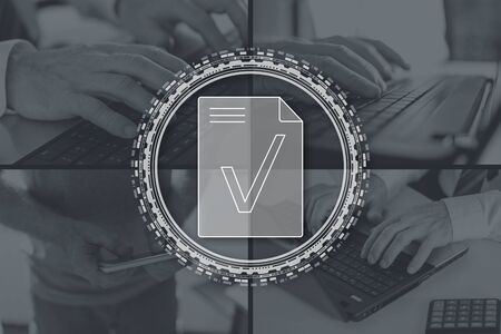 Document validation concept illustrated by pictures on background Фото со стока