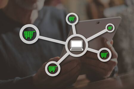 E-commerce concept illustrated by a picture on background