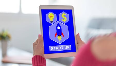 Tablet screen displaying a start up concept