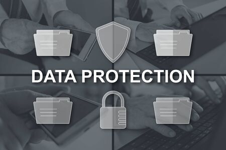 Data protection concept illustrated by pictures on background