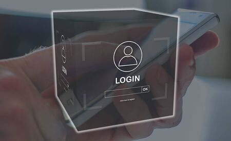 Login concept illustrated by a picture on background