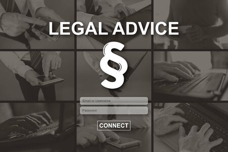 Legal advice concept illustrated by pictures on background Stok Fotoğraf