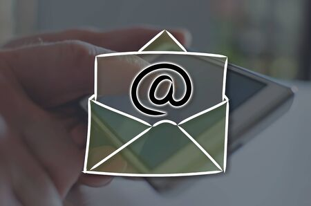 Email concept illustrated by a picture on background