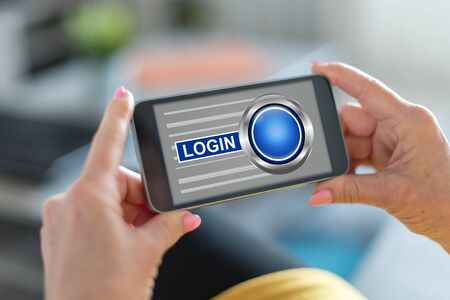 Smartphone screen displaying a login concept