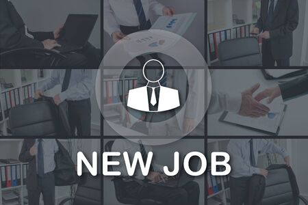 New job concept illustrated by pictures on background Stock Photo