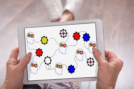 Brainstorming concept shown on a tablet held by a woman