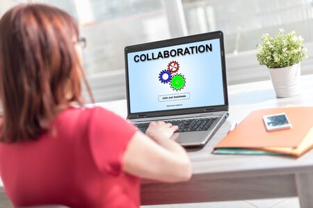Laptop screen displaying a collaboration concept
