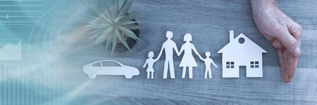 Hands protecting a family, a house and a car; symbol of insurance; panoramic banner