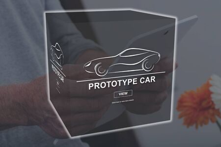 Prototype car concept illustrated by a picture on background Stok Fotoğraf - 140111529