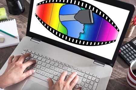 Virtual reality concept shown on a laptop screen