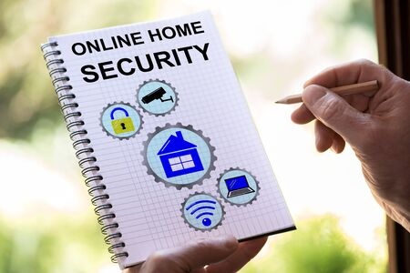 Hand drawing online home security concept on a notepad