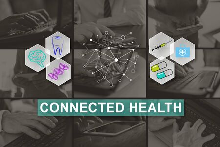 Connected health concept illustrated by pictures on background