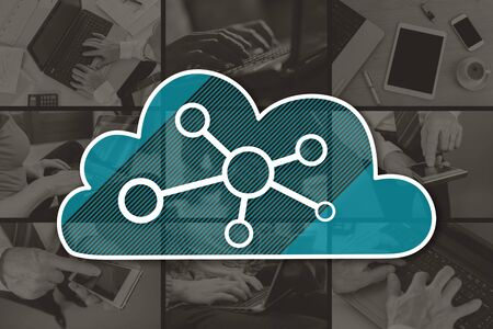 Cloud networking concept illustrated by pictures on background 版權商用圖片