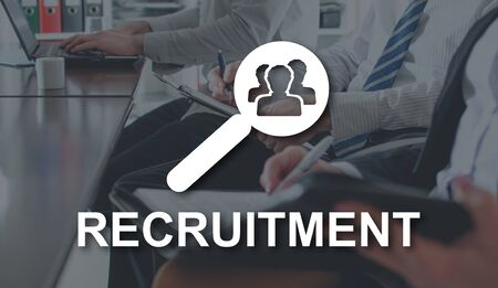 Recruitment concept illustrated by a picture on background