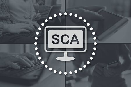 Sca concept illustrated by pictures on background Stock fotó