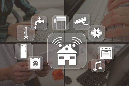 Smart home automation concept illustrated by pictures on background