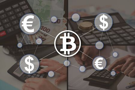 Bitcoin concept illustrated by pictures on background