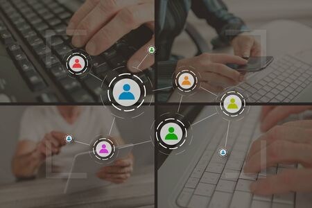 Social media and teamwork concept illustrated by pictures on background