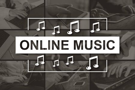 Online music concept illustrated by pictures on background