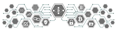 Concept of blockchain technology with connected icons