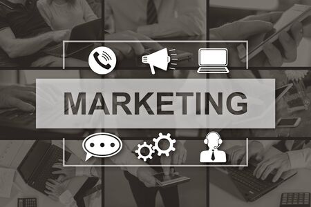 Marketing strategy concept illustrated by pictures on background