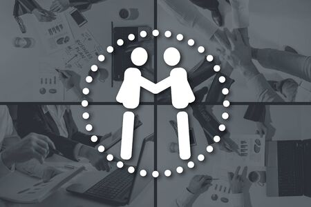 Business partnership concept illustrated by pictures on background