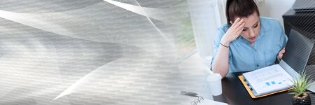 Surprised businesswoman looking at document in folder; panoramic banner Фото со стока