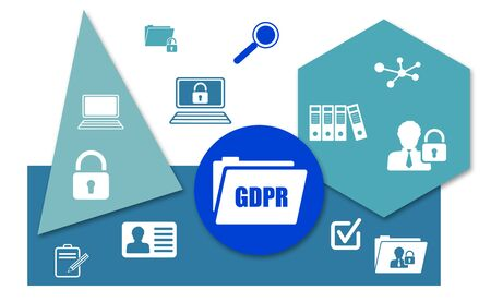 Concept of gdpr with icons on geometric shapes background