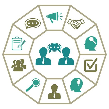 Concept of consulting with icons on diamond facets