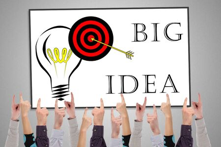 Big idea concept on a whiteboard pointed by several fingers Archivio Fotografico - 150117719