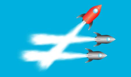 Red rocket taking a different direction from others. Concept of thinking differently and disruption