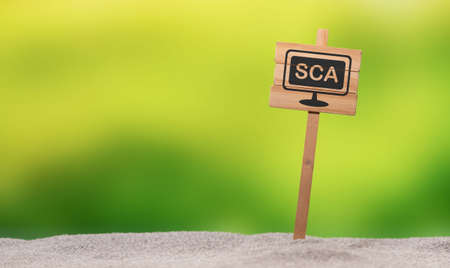 Concept of SCA on a wooden sign Stock fotó