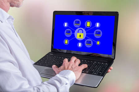 Man using a laptop with password protected concept on the screen