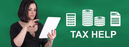 Woman using digital tablet with tax help concept on background