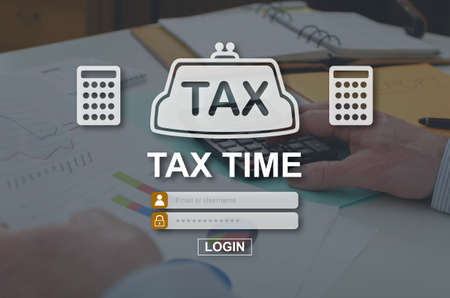 Tax time concept illustrated by a picture on background Stok Fotoğraf