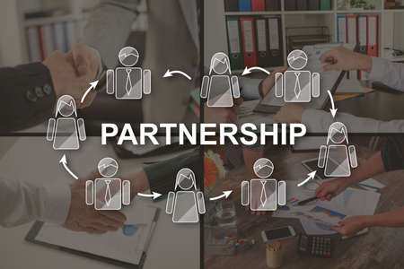 Partnership concept illustrated by pictures on background