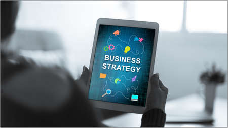 Tablet screen displaying a business strategy concept