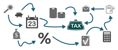 Concept of tax with connected icons