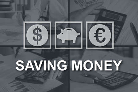 Saving money concept illustrated by pictures on background