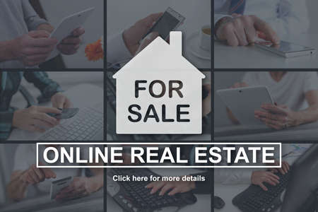 Online real estate concept illustrated by pictures on background