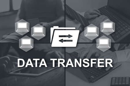 Data transfer concept illustrated by pictures on background