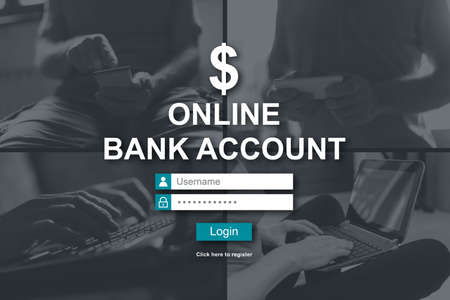 Online bank account concept illustrated by pictures on background